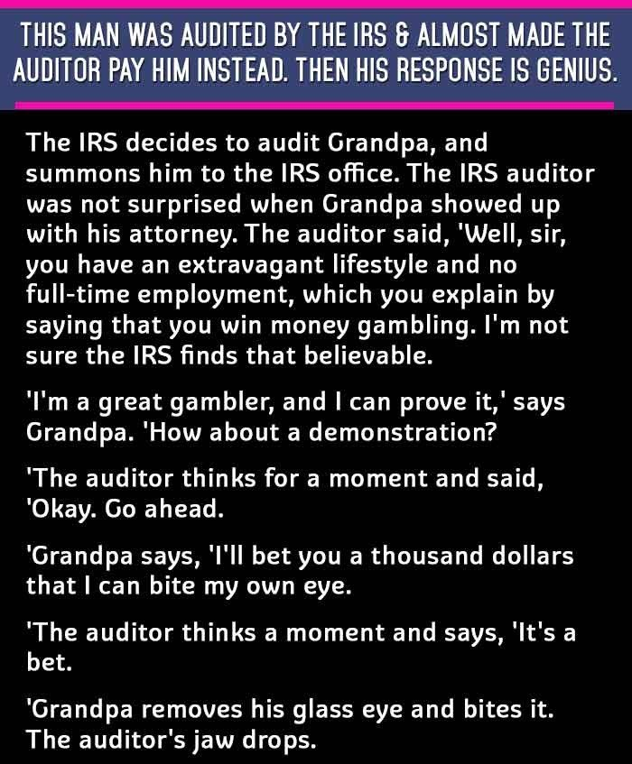 A grandpa challenged by an IRS auditor, was left embezzled