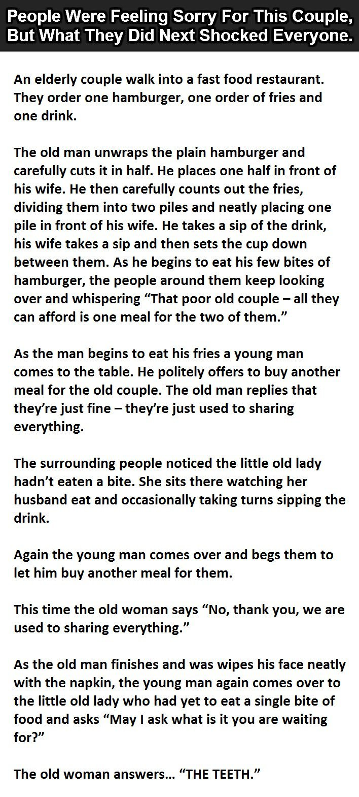 Everybody thought his wife is not eating, and then she said this.