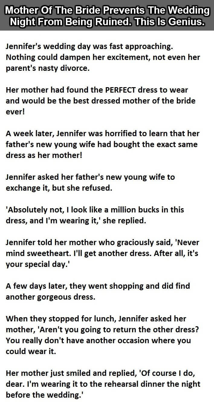 This is how bride's mother prevents the wedding night from being ruined