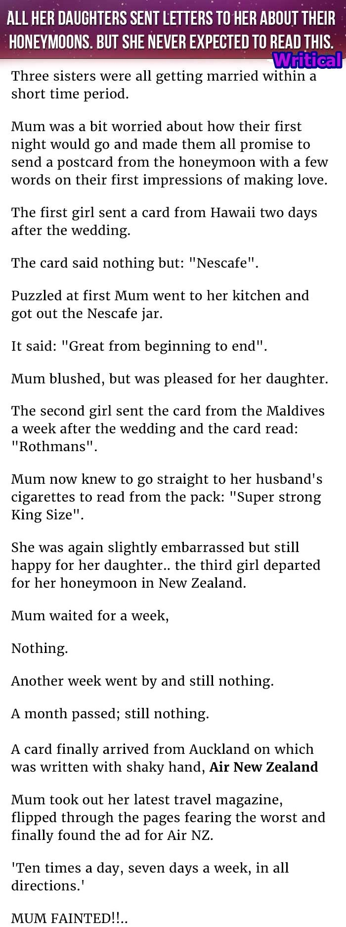 A mother received letter from her daughters about their honeymoon in each of these letters there was a secret way to decrypt the letter find out what she learned about her daughters honeymoon experience thecheapjerseys Choice Image