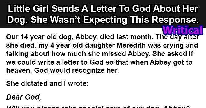 This little girl sent a letter to god after her dog died Why do we put stamps on letters