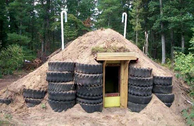 Mike used a 1,500-gallon plastic ag liquids tank to build this root cellar/storm shelter.