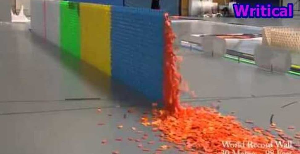 Chain Reaction of Falling Dominoes