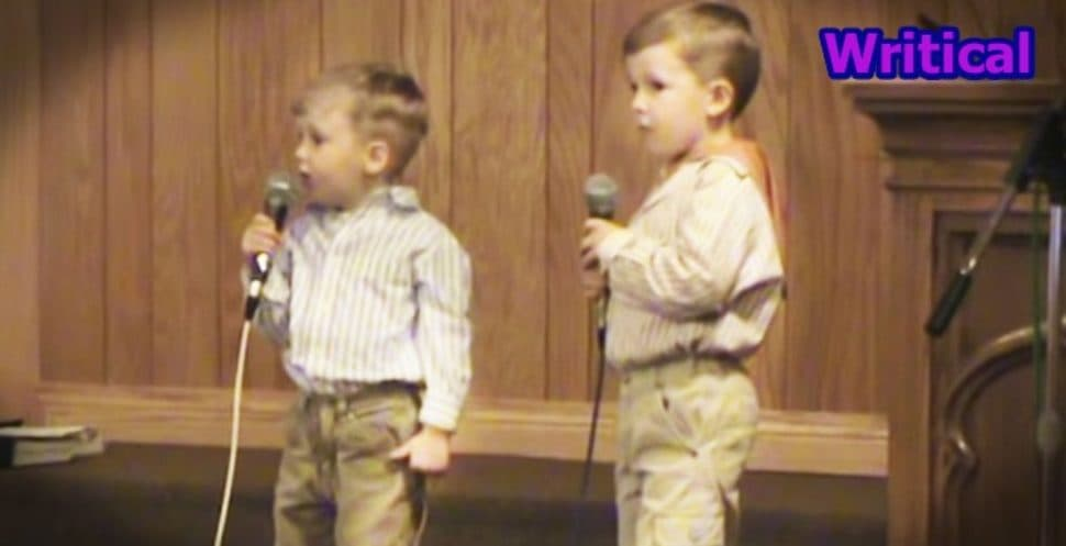 Little brothers singing He Arose