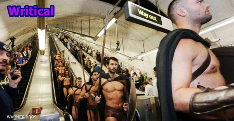 300 Spartans in the London Underground, coolest Flashmob