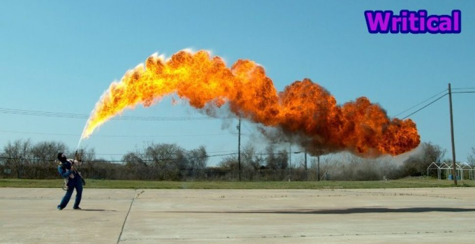 giant flamethrower in slow motion