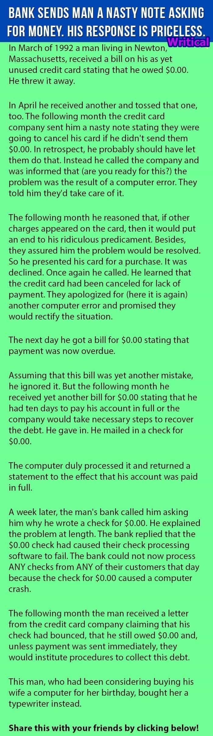 Credit Card fault created headache for the bank. Funny