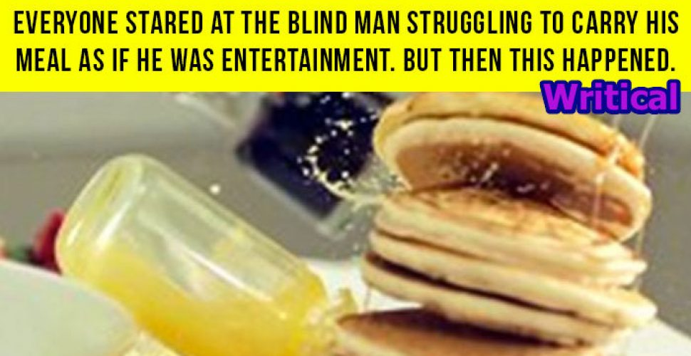 Blind man struggled with his food, but then a Samaritan did this