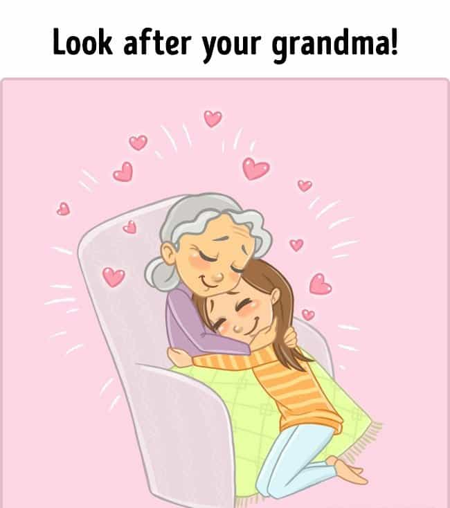 Sweet Illustrations Related to Grandma. Perfect