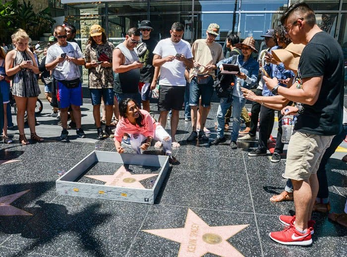 Tiny Wall on Donald Trump's Hollywood Walk of Fame