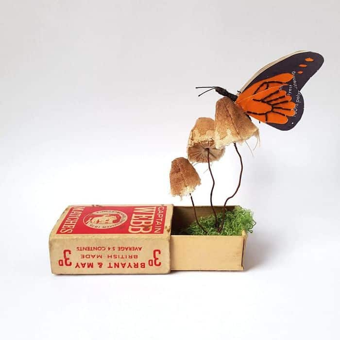 Recycled Items used to make bugs, butterflies, and Insect