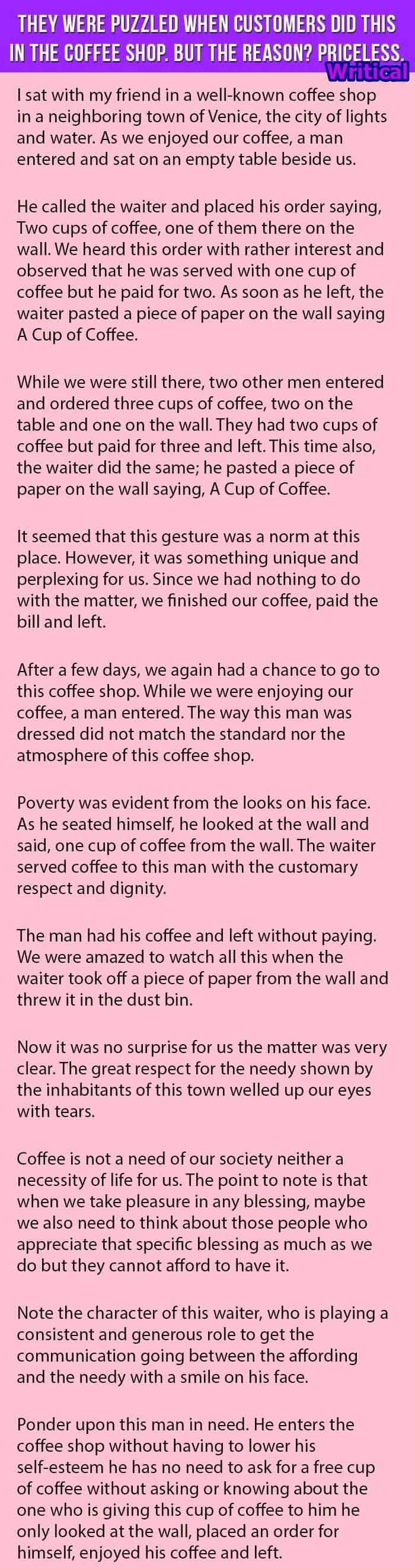 Priceless Reason behind Customer's Act in Coffee Shop!