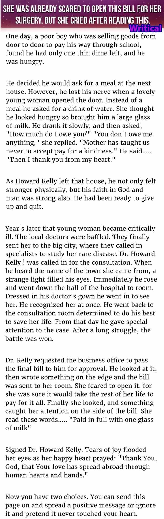 Woman kind act helped her in later years