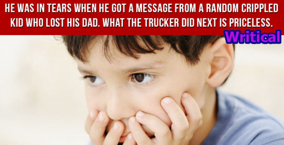 Little Crippled boy amazed by a trucker