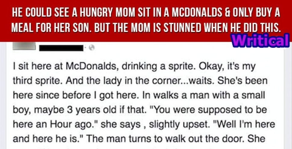 Wise man kind act left a mother speechless