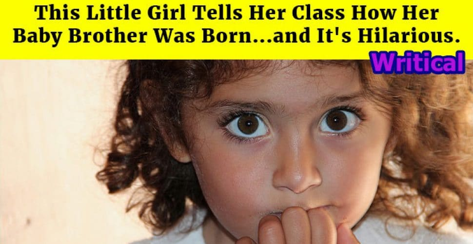 Little girls explain the classroom how her baby brother was born