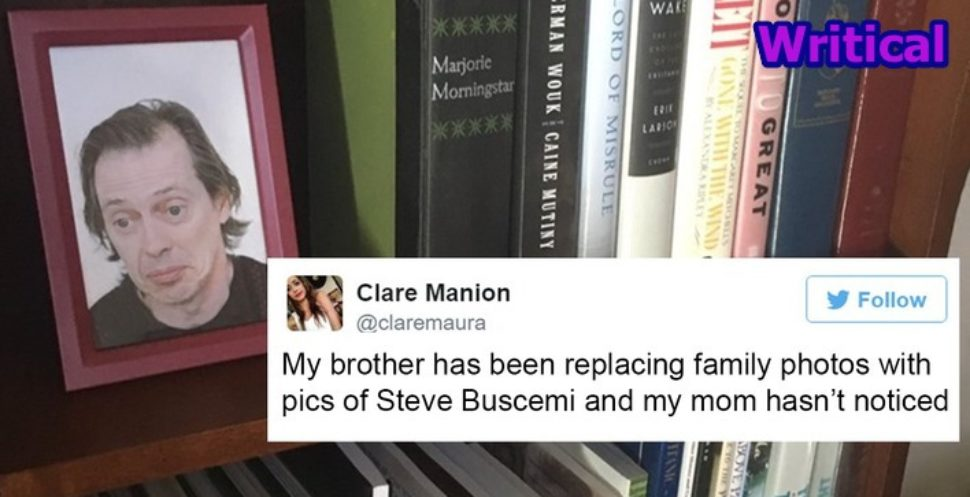 Son replaces family photos with Steve Buscemi to prank his parents