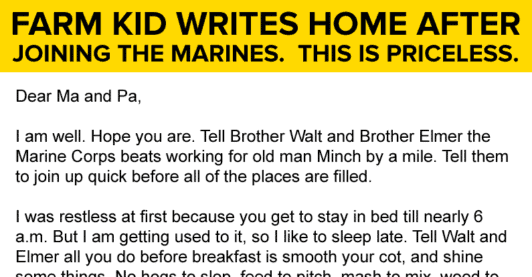 This Kid Writes A Letter Home After Joining The Marines. This Is GOLD!