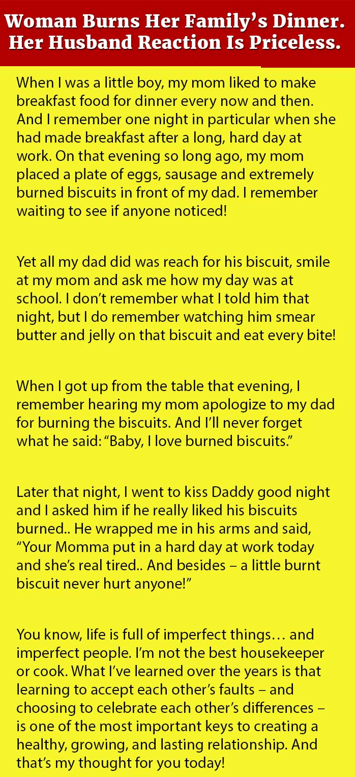 wife burns family dinner but then her husband said this gold wife burns family dinner but then her husband said this gold writical