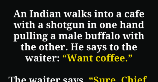 A guy walked into a cafe with a buffalo. He Then did this…
