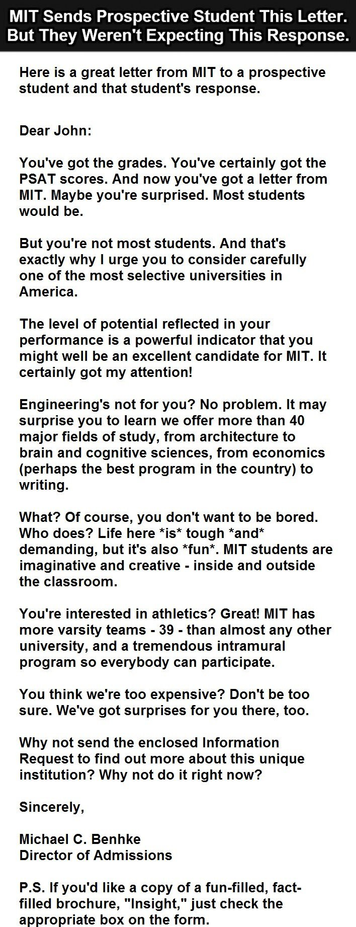 The student's response to MIT's letter is just priceless