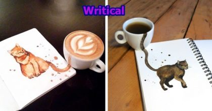 coffee illustrated as cats