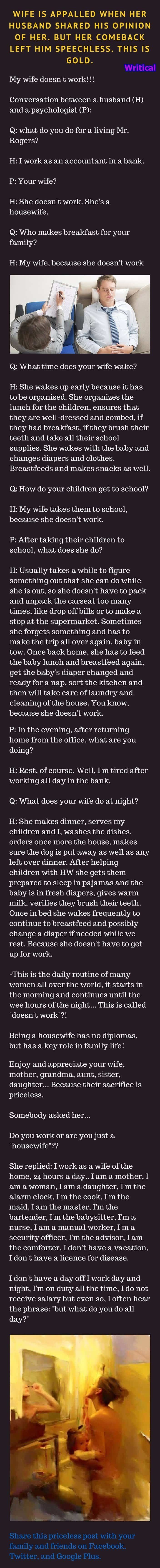 Husband's opinion about his wife is shocking