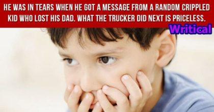 Little Crippled boy amazed by a trucker