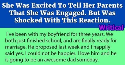 Excited Young Woman shocked by her parents' reaction