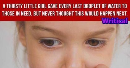 Thirsty little girl offers others water, but she never expected this to happen