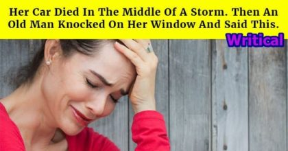 Her truck died in the middle of the storm, then an old man did this